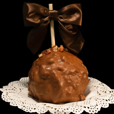 Smokey Maple Bacon Caramel Apple from DeBrito Chocolate Factory.