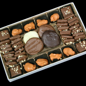 Gourmet Boxed Private Collection (chocolate covered apricots, toffee, and macadamia nuts) from DeBrito Chocolate Factory