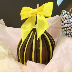 Caramel drizzled with yellow, milk, and dark chocolate.  It's a chocolate lover's paradise!