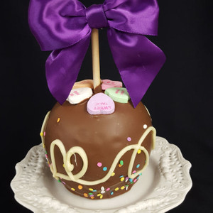 """Be Mine"" Valentine's caramel apple from DeBrito Chocolate Factory."