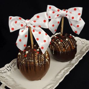 """Love You More"" Valentine's caramel apple from DeBrito Chocolate Factory."