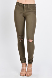 Olive Slight Distressed Jeggings
