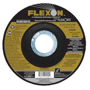 "FLEXON by Flexovit A1224 4-1/2""x1/4""x7/8"" ZA24P   -  FAST GRIND Depressed Center Grinding Wheel"