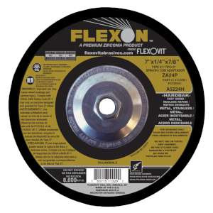 "FLEXON by Flexovit A5224H 7""x1/4""x5/8-11 ZA24P   -  FAST GRIND Depressed Center Grinding Wheel"