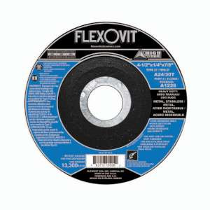 "HIGH PERFORMANCE by Flexovit A1226 4-1/2""x1/4""x7/8"" A24/30T  -  HEAVY DUTY Depressed Center Grinding Wheel"