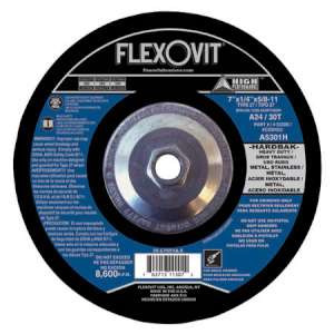 "HIGH PERFORMANCE by Flexovit A5301H 7""x1/4""x5/8-11 A24/30T  -  HEAVY DUTY Depressed Center Grinding Wheel"
