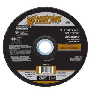"FOUNDRYHOG by Flexovit A8340 9""x1/4""x7/8"" ZACX24T  -  RAPID GRIND Depressed Center Grinding Wheel"