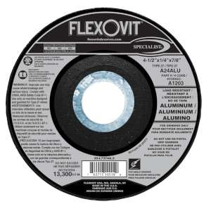 "SPECIALIST by Flexovit A1203 4-1/2""x1/4""x7/8"" A24ALU  -  LOAD RESISTANT Depressed Center Grinding Wheel"