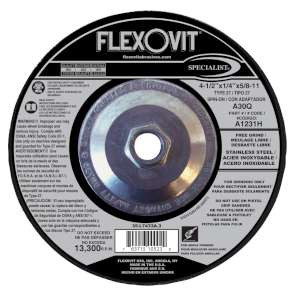 "SPECIALIST by Flexovit A1231H 4-1/2""x1/4""x5/8-11 A30Q  -  FREE GRIND Depressed Center Grinding Wheel"