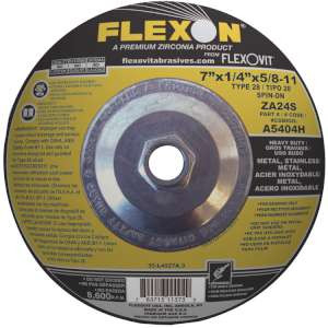 "FLEXON by Flexovit A5404H 7""x1/4""x5/8-11 ZA24S  -  HEAVY DUTY Depressed Center Grinding Wheel"