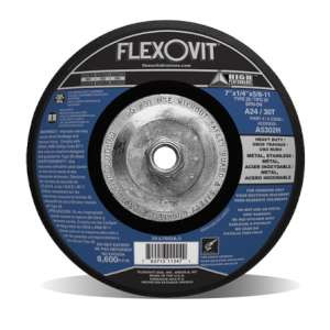 "HIGH PERFORMANCE by Flexovit A5302H 7""x1/4""x5/8-11 A24/30T  -  HEAVY DUTY Depressed Center Grinding Wheel"