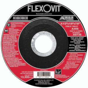 "HIGH PERFORMANCE by Flexovit A0736 4-1/2""x1/8""x7/8"" A30S  -  FAST CUT, GRIND Depressed Center Combination Wheel"