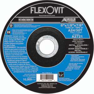 "HIGH PERFORMANCE by Flexovit A2721 6""x1/8""x7/8"" A24/30T  -  HEAVY DUTY Depressed Center Combination Wheel"