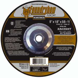 "FOUNDRYHOG by Flexovit A7245H 9""x1/8""x5/8-11 ZACX24U  -  HEAVY DUTY Depressed Center Combination Wheel"