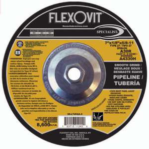 "SPECIALIST by Flexovit A4330H 7""x1/8""x5/8-11 A30R  -  SMOOTH GRIND Depressed Center Combination Wheel"