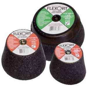 "HIGH PERFORMANCE by Flexovit N4250S 4""x2""x5/8-11 A16QB W/ STEELBACK Resin Cupstone"
