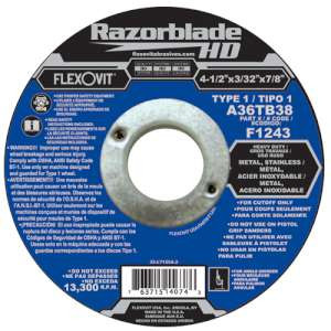 "RAZORBLADE HD by Flexovit F1243 4-1/2""x3/32""x7/8"" A36TB38  -  HEAVY DUTY Reinforced Angle Grinder Cutoff Wheel"