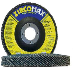 "ZIRCOMAX by Flexovit Z4517F 4-1/2""x7/8"" ZA120 FIBERGLASS BACKING PLATE  -  EXTRA LONG LIFE Flap Disc"
