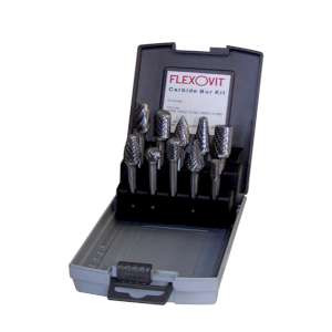 HIGH PERFORMANCE by Flexovit VZKIT10 TEN PIECE BUR KIT Easy to handle and portable Bur Display Case