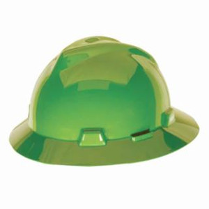 MSA V-Gard Full Brim hard hat Hi-Viz Lime