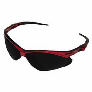 Jackson V30 Nemesis Safety Glasses, Smoke Polycarb Anti-Scratch Lenses, Red Nylon Frame