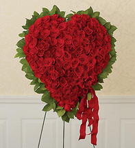 Red Rose Heart Standing Spray