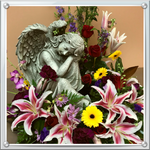 This arrangement, as shown, contains yellow gerber daisies, stargazer lilies, larkspur, red roses, burgundy carnation, dendrobium, lavender daisies, status and assorted greens for $250.  Prices start at $199.99 and can be custom designed to your specifications.
