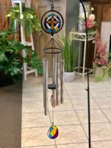 """Stained Glass Wind Chime 35"""". Verses & Design vary. (LOCAL DELIVERY ONLY) Stand not included"""
