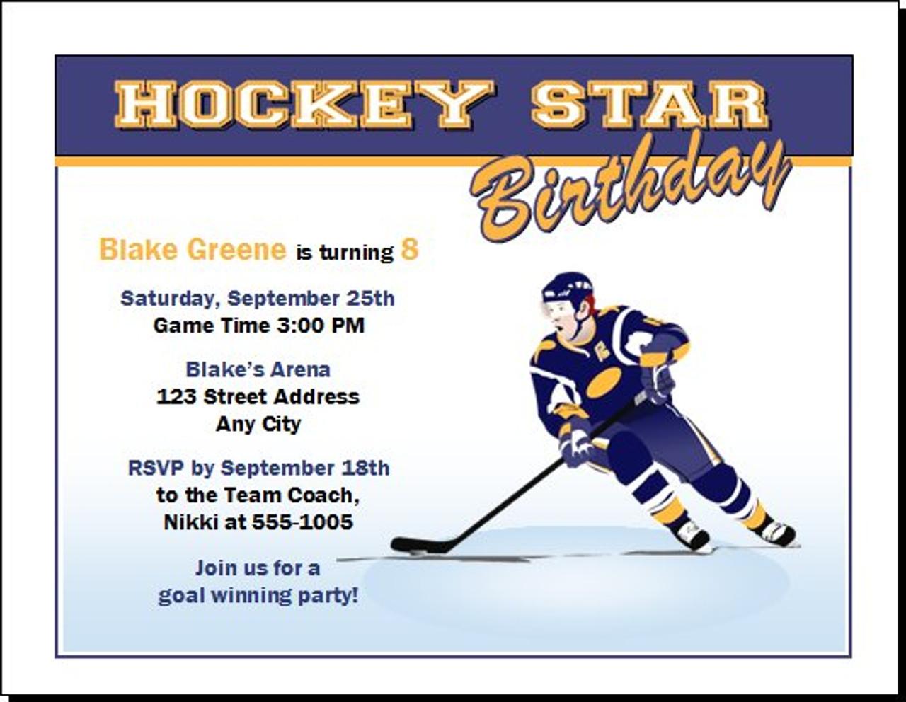 Birthday Party Invitation – Hockey Birthday Party Invitations