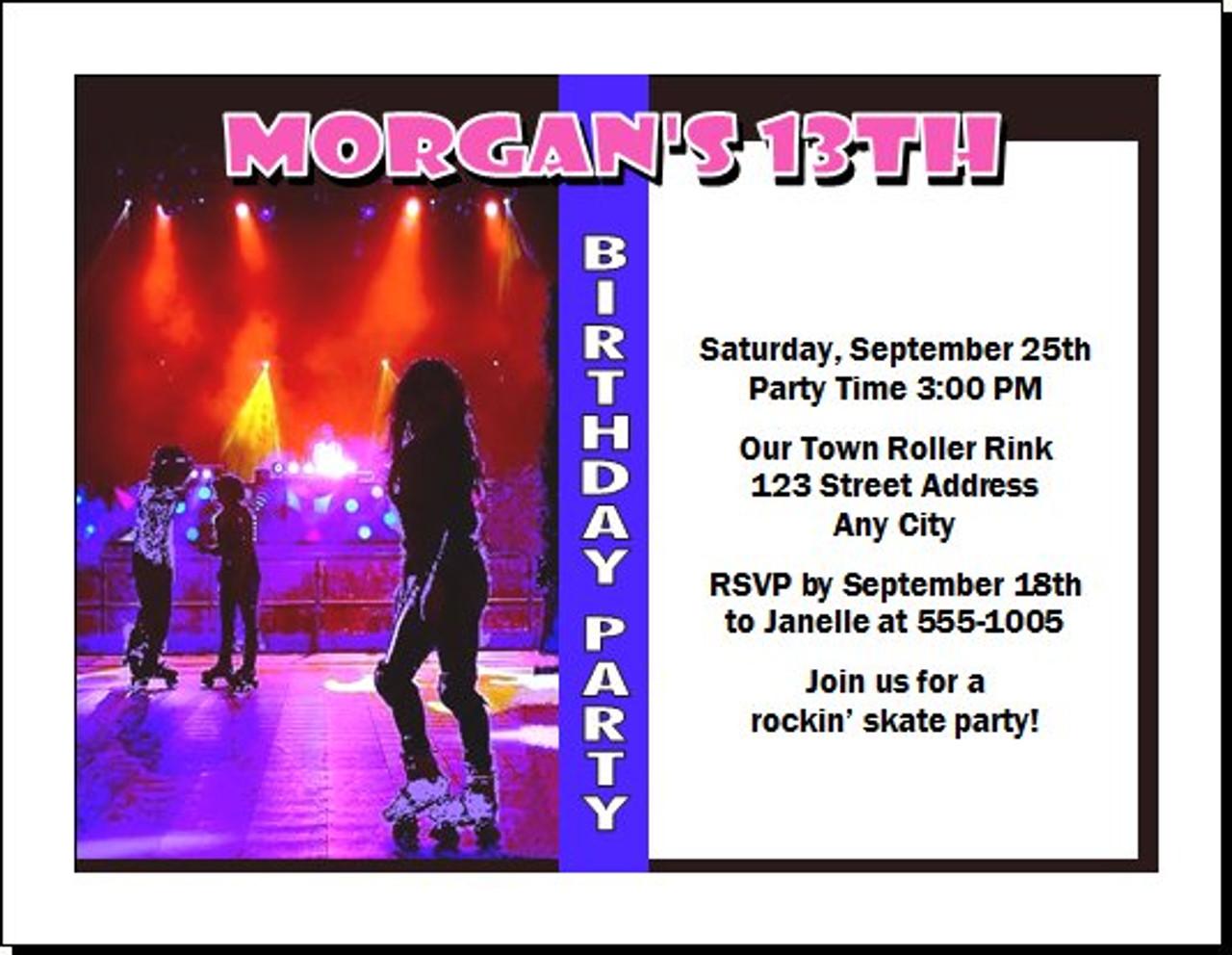 roller skating birthday party invitation - Roller Skating Birthday Party Invitations