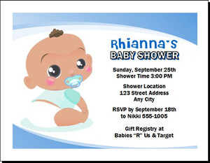 African Baby Boy Blue Baby Shower Invitation