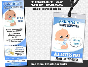 African Baby Boy Blue Baby Shower Invitation Additional Styles