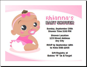 African Baby Girl Pink Baby Shower Invitation