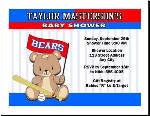Baseball Teddy Bear Baby Shower, Co-Ed, Diaper Party Invitation