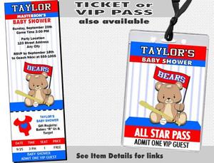 Baseball Teddy Bear Baby Shower Party Invitation Other Styles