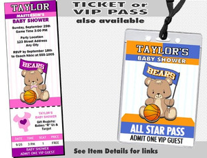 Basketball Teddy Bear Pink Baby Shower Party Invitation Other Styles and Colors