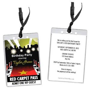 Red Carpet Paparazzi Birthday Party VIP Pass Invitation
