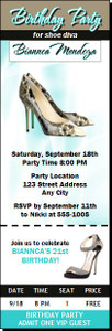 A Choo Stiletto Birthday Party Ticket Invitation