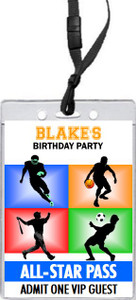 All Star Sports Birthday Party VIP Pass Invitation