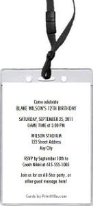 All Star Sports Birthday Party VIP Pass Invitation Back