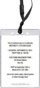 Amusement Park Birthday Party VIP Pass Invitation Back