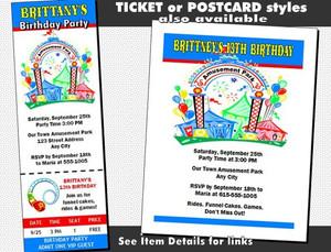 Amusement Park Birthday Party Invitation Other Styles