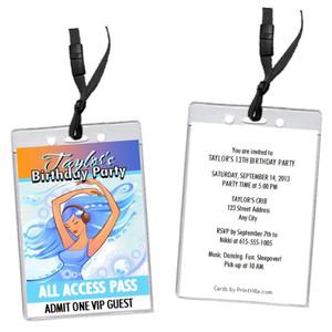 Aqua Girl Birthday Party VIP Pass Invitation