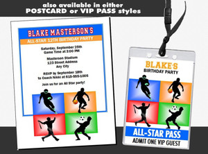All Star Sports Birthday Party Invite Styles
