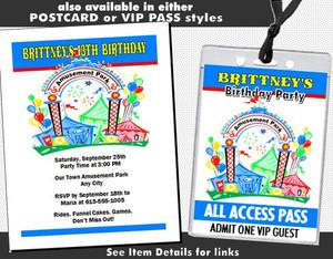 Amusement Park Birthday Party Invitation Styles