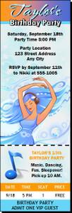 Aqua Girl Birthday Party Ticket Invitation