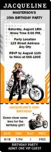 Biker Chick Birthday Party Ticket Invitation