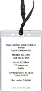 Kentucky Derby Party VIP Pass Invitation Back