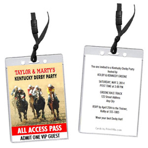 Kentucky Derby The Race Is On Party VIP Pass Invitation