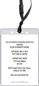 Kentucky Derby The Race Is On Party VIP Pass Invitation Back